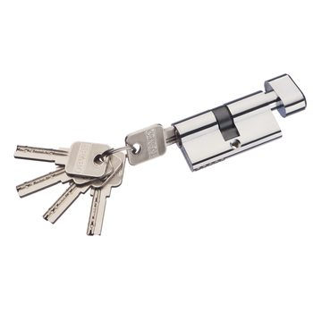 Цилиндр ключ/фиксатор Bravo AЕF-60-30/30 C Хром (алюм., 5 ключей)