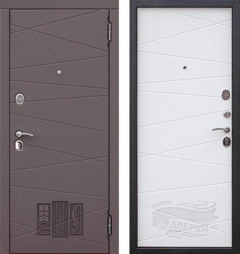 Дверь входная металлическая МДФ Верона 9,5 Сатин Коричневый / Сатин Белый