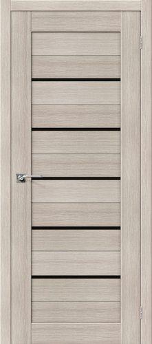 Дверь межкомнатная серии Porta X с покрытием экошпон Порта-22 в цвете Cappuccino Veralinga/Black Star остекленная