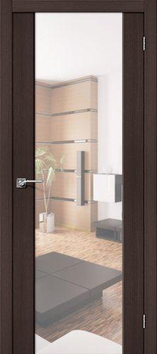 Дверь межкомнатная серии Soft с покрытием экошпон S-13 Reflex в цвете Wenge Veralinga остекленная