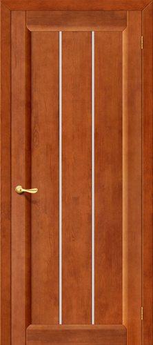 Дверь межкомнатная серии Классика из массива Вега-19 в цвете Т-31 (Темный Орех) остекленная